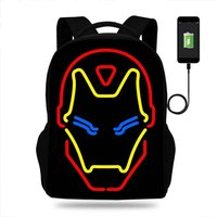 School Bags Superhero Iron Man Print Backpack Teenager Boys Kids USB Charger Backpack Students Children School Bags