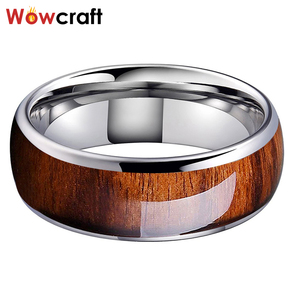Image 2 - 8mm Koa Nature Wood Inlay Tungsten Carbide Ring for Men Wedding Band Polished Shiny Comfort Fit
