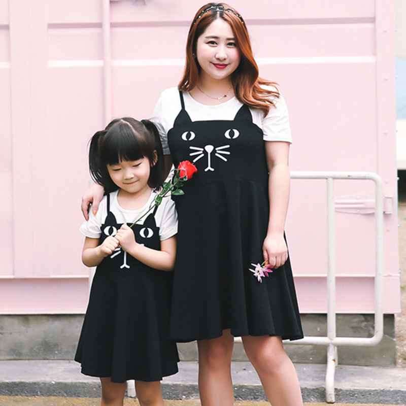 2019 Summer New Products Large Size Dress Cute Parent-child Matching Outfit Meng Po Cat Mock Two-Piece Dress Wholesale 1208