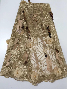 African Lace fabric High Quality Nigerian 3D beaded Lace Fabric gold 2019 French Net Lace Fabric With sequins for Dress CD32411