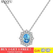 SANYU Blue Topaz Oval Design Pendant Necklaces Solid Sterling 925 Sterling Silver Necklace For Women Fine Jewelry Colar Feminino hutang stone jewelry natural green turquoise blue topaz pendant solid 925 sterling silver necklace fine jewelry for women gift