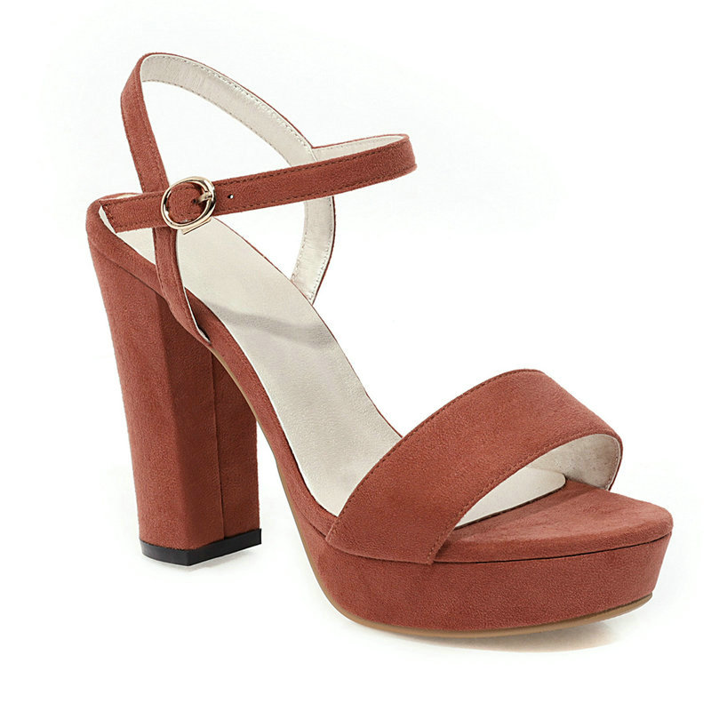 Women Ankle Strap Summer Sandals Fashion Buckle Shoes Ladies Platform Square Heel Party Shoes Red Pink Beige