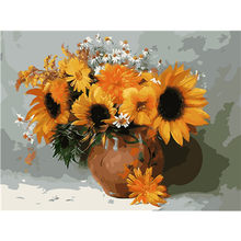 Canvas Sunflower DIY Painting By Numbers Acrylic Paint By Numbers Modern Wall Art Picture Hand Painted Oil Painting Arts #F5(China)