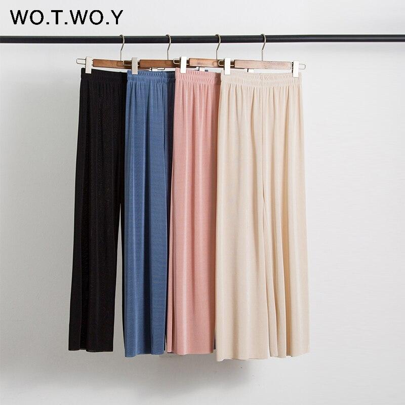 WOTWOY Shiny Lurex Solid Wide Leg Pants Women High Waist Silk Loose Pants Women Full Length Summer Casual Trousers Femme Soft