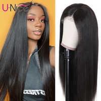 Unice-pelucas de cabello humano sin pegamento, pelo liso brasileño Remy de 14-26 pulgadas, color Natural, pelucas de cabello humano 100%