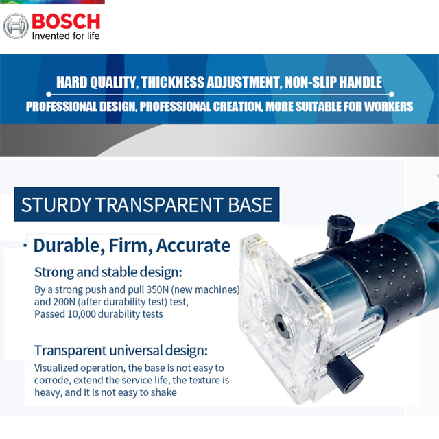 Bosch 550W Woodworking Electric Router trimmer 33000rpm Wood Milling Engraving Slotting Trimming machine Hand Carving Carpentry 3