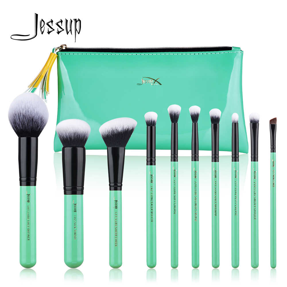 Jessup Make-Up Kwasten Set Poeder Oogschaduw Vouw Concealer Foundation Brush 10 Stuks Neo Mint Beauty Synthetische Cosmetische Kit T278