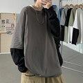2021 осенне-Весенняя модная футболка большого размера с имитацией двух частей, черная серая мужская футболка с длинным рукавом, Повседневная ...