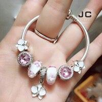 JC Fashion Charm 925 Sterling Silver DIY Bracelet Magnolia Flower Beads, Men Women Bracelets Women Accessories Jewelry Gifts