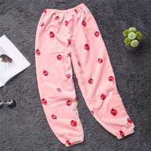 Женские коралловые флисовые штаны для сна теплые фланелевые