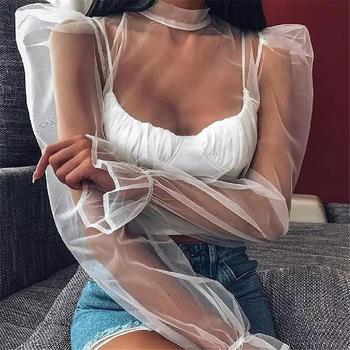 Damska bluzka z golfem koszula z bufkami siatka zwykła bluzka klubowa znosić urząd Lady luźna koszula biała bluzka damska Top tanie i dobre opinie hirigin Poliester REGULAR Stałe Pełna women blouses Latarnia rękaw Hollow out Suknem Na co dzień