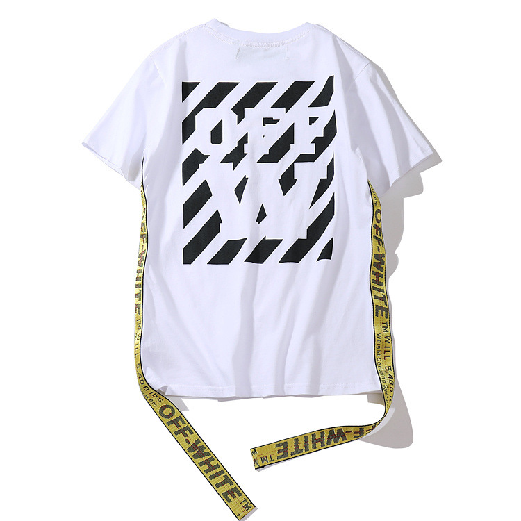 Europe And America Fashion Off White Off W Lettered Ribbon Men And Women Short Sleeve T-shirt