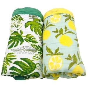 Image 2 - winter blanket lemon & rainforest 4 layer 100% cotton muslin baby blankets for newborn swaddle wrap bedding swaddling