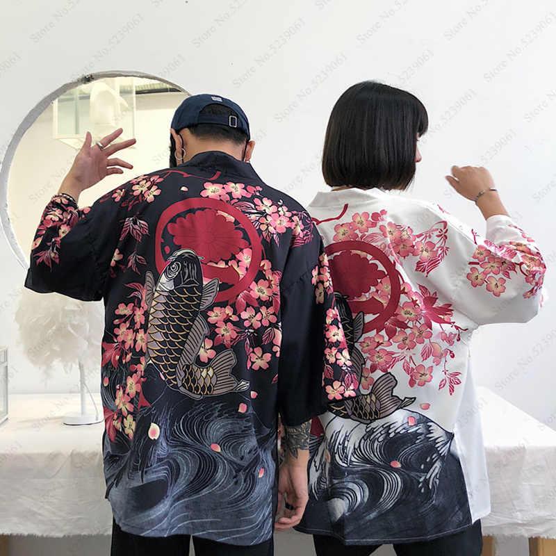 Haori estilo japonés Camiseta pez chino Samurai grúa impresa cárdigan hombres mujeres Yukata blusa Kimono bata chaquetas asiáticas