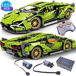 Beroemde Auto Serie Model Afstandsbediening Elektrische Versie Concurrerende Racing Bouwstenen Jongens Favoriete Montage Speelgoed