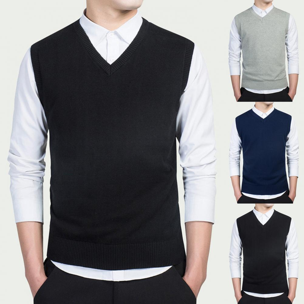 Men Autumn Winter Solid Color Sleeveless V Neck Knitted Sweater Business Vest 1