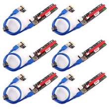 6Pcs VER103C 3in1 LED Riser Power PCI E Riser Card 4pin 6pin Sata 15PIN PCI Express 1X to 16X Extension Cable for Bitcoin Miner