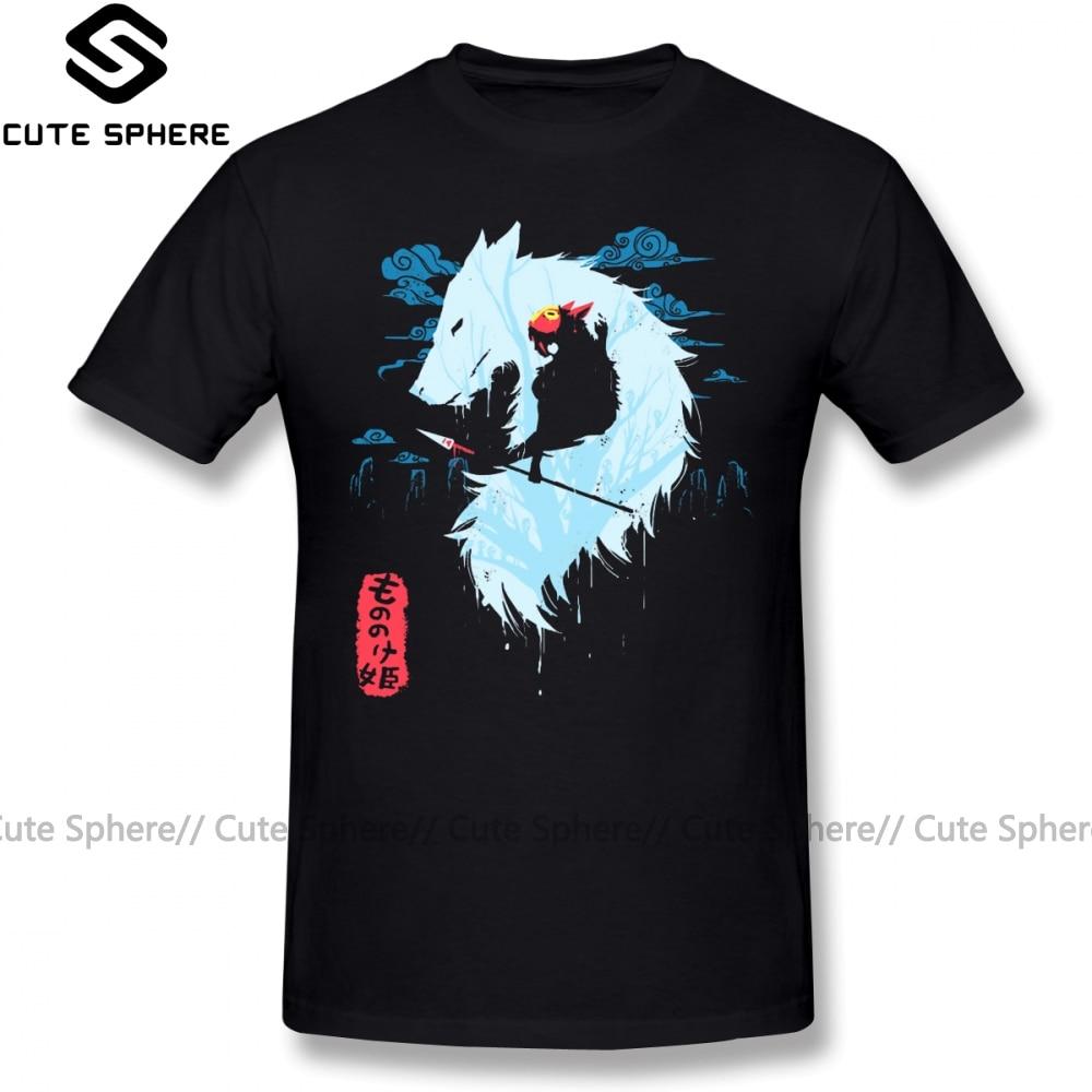 Mononoke T Shirt Princess Mononoke Hime T-Shirt Graphic Men Tee Shirt Awesome Oversize Short Sleeve Cotton Classic Tshirt