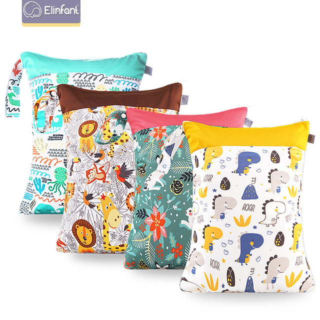 Elinfant 2PC Reusable Waterproof Fashion Prints Wet Dry Diaper Bag Double Pocket Cloth Handle Wetbags 30*40CM Wholesale