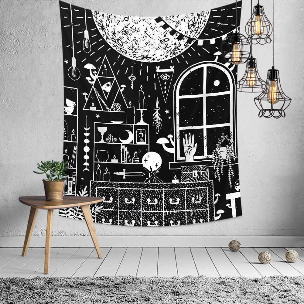 Słońce i księżyc gobelin ściana w stylu hippie do zawieszenia czary Tapiz psychodeliczny dom wiejski dekoracja wzór mandali koc Home Decor