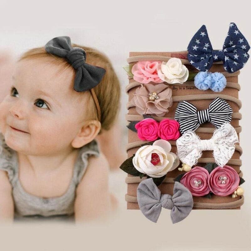 10PCS Newborn Baby Girl Hair Accessories Bowknot Flower Headband Hair Band Set