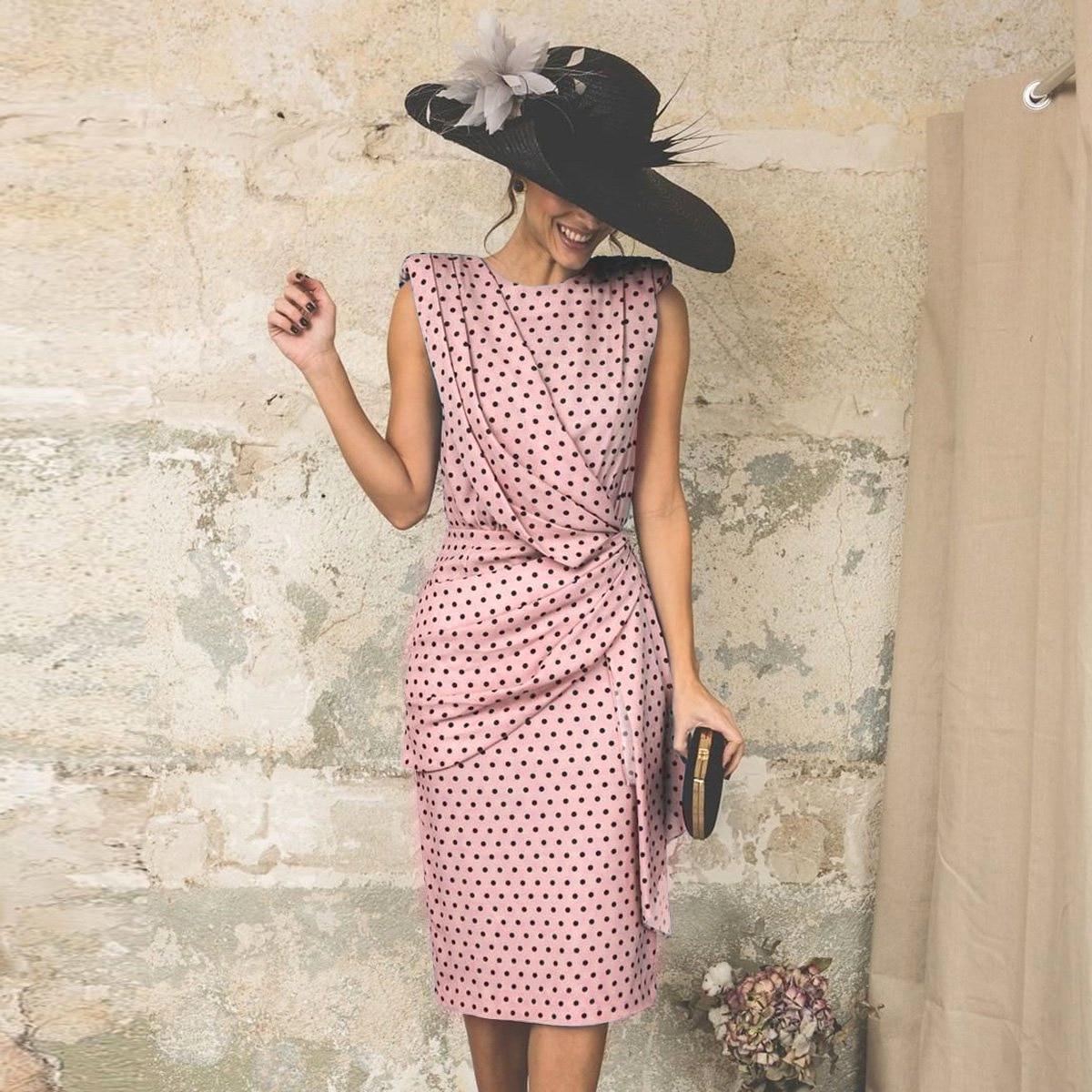 2020 Summer Plus Size Women Dress Short Sleeve O Neck Polka Dot Slim Cocktail Dress Sexy Midi Bodycon Party Dresses Vestido