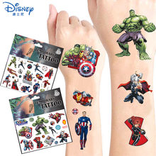 Random Original Marvel Hero Tattoo Stickers Disney Spider-Man Iron Man The Avengers Sticker Cartoon Kids Girls Birthday Gifts