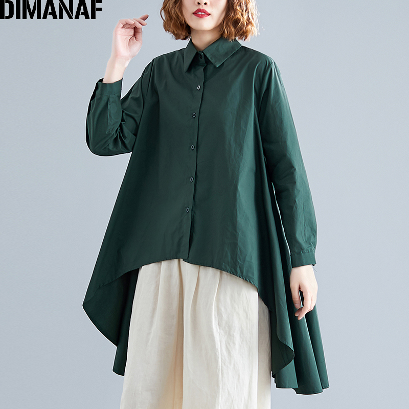 DIMANAF Plus Size Women Blouse Shirts 2019 New Autumn Long Sleeve Solid Cotton Female Office Lady Tops Loose Big Size Clothing in Blouses amp Shirts from Women 39 s Clothing