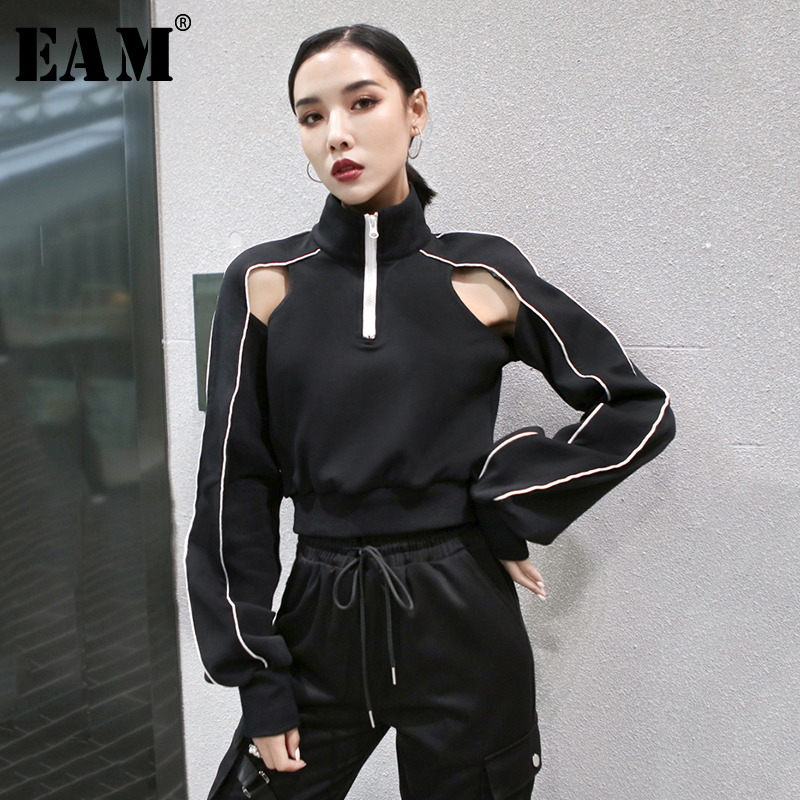 [EAM] Women Black Line Hollow Out Split Joint T-shirt New Stand Collar Long Sleeve  Fashion Tide  Spring Autumn 2020 1T152