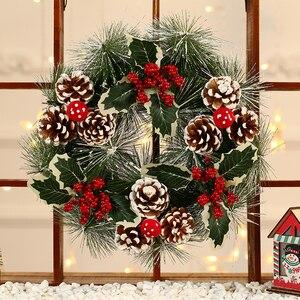 Image 1 - Inverno Rustico Impiccagioni di Natale Decorazione Della Casa Accessori Di Natale Decorazioni per La Casa Bianca Neve Corona con Le Stelle Porta Corona di natale