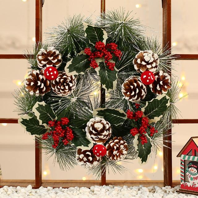 Inverno Rustico Impiccagioni di Natale Decorazione Della Casa Accessori Di Natale Decorazioni per La Casa Bianca Neve Corona con Le Stelle Porta Corona di natale