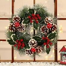 Winter Rustikalen Weihnachten Behänge Hause Dekoration Zubehör Weihnachten Dekorationen für Home Weiß Schnee Kranz mit Sternen Kranz Tür
