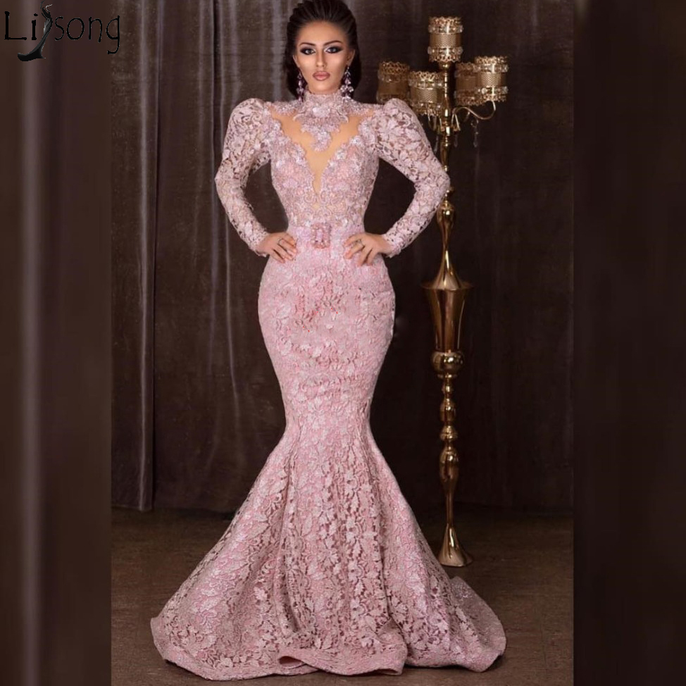 High Neck Long Sleeves Mermaid Prom Dresses 2019 Full Lace Evening Dress Sweep Train Zipper Back Formal Gowns Vestidos De Gala