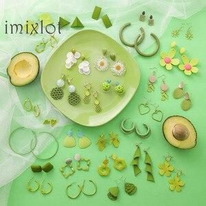 Retro Green Avocado Fruit Flowers Earrings Set Sweet Summer Geometric Matcha Fresh Green Female Simple Fashion Jewelry