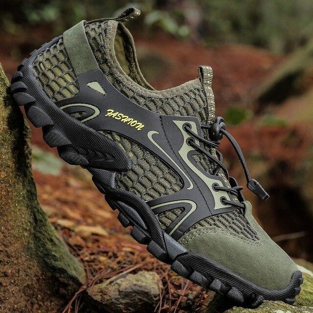 Men Mesh Aqua Shoes Outdoor Professional Non-slip Durable Trekking Upstream Shoes Man Cool Hiking Wading Water Sports Sneakers