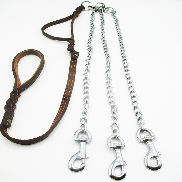 Double Handle Hand Holding Rope Stitching Cowhide Iron Chain Anti-Bite One-Drag Two Multi-of Dog Medium Large Dog Traction