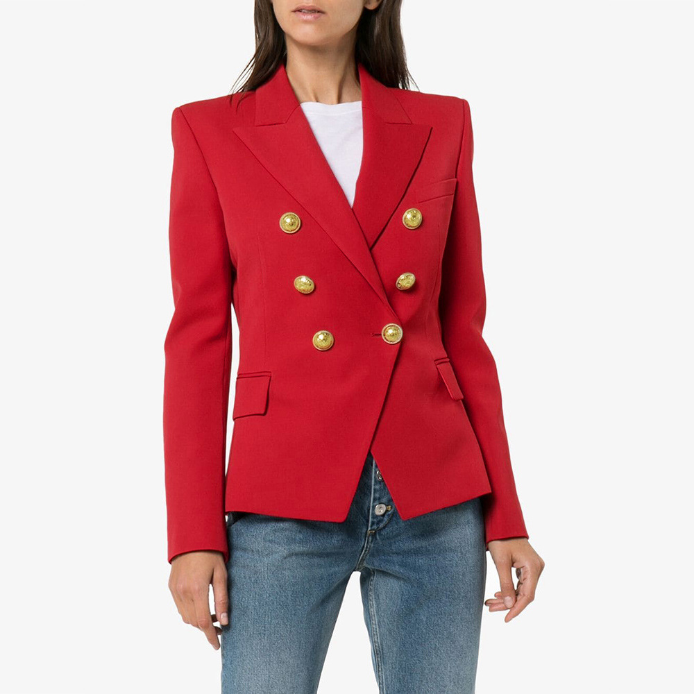 2020 new women stick double breasted suit jacket office ladies vintage plaid blazer pockets work wear tops Thousand bird blazer