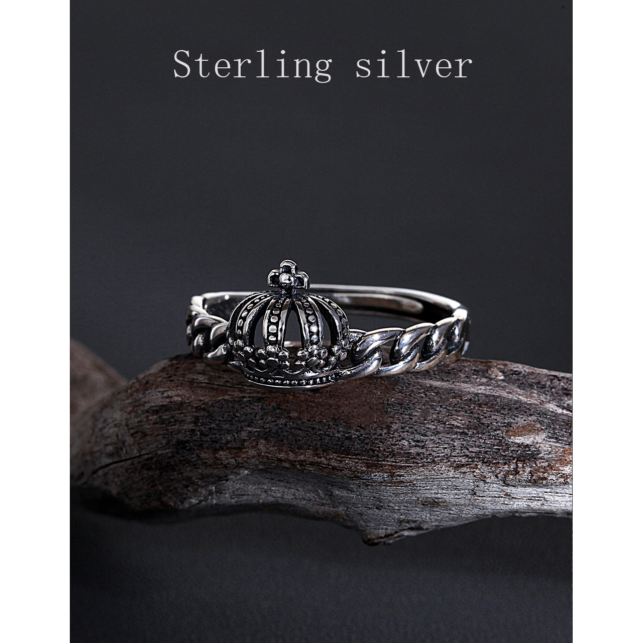 European Style S925 Sterling Silver Crown Twist Chain Opening Adjustable Nostalgic Personality Fashion Trend Female RingS