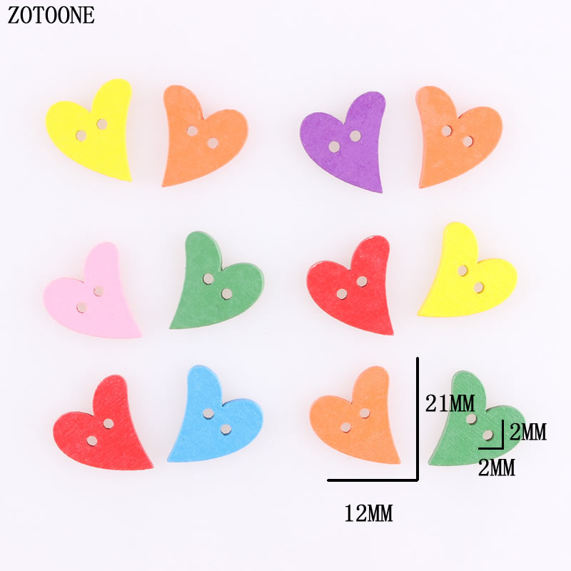 ZOTOONE 100pcs DIY Mix Random Corful Heart Wood Buttons 12*21MM Sewing Craft 2 Holes Wooden Clothes Scrapbooking Decor A