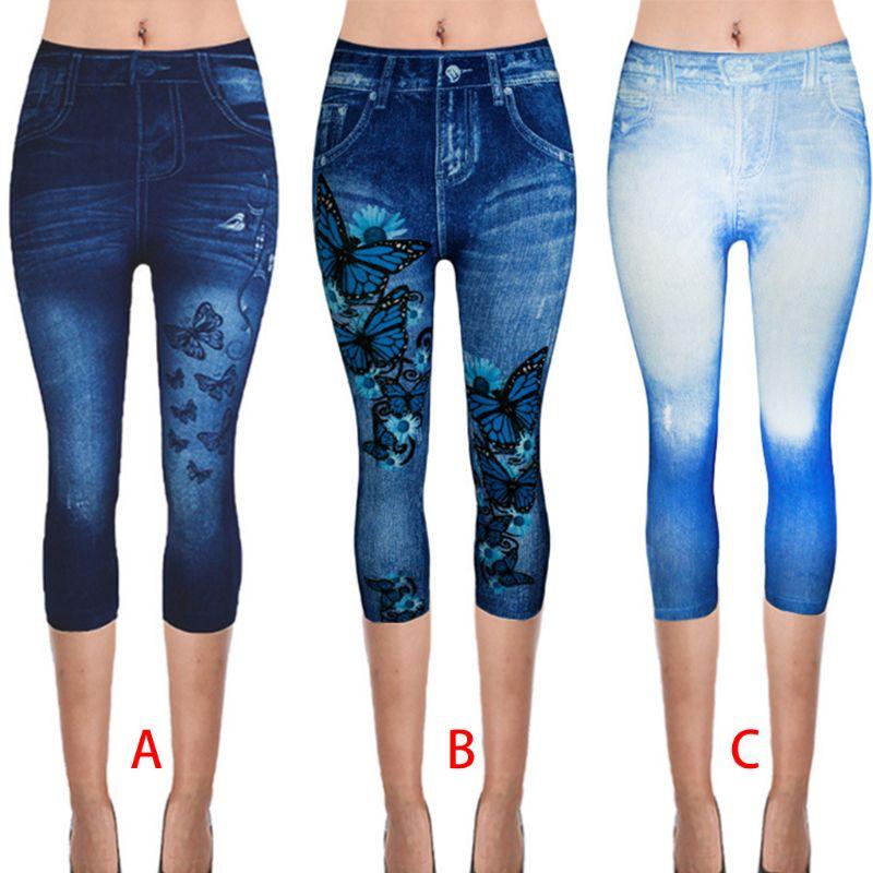 Women Plus Size Fake Jeans Capri Pants Retro Wash Color Butterfly Denim Print Leggings High Waist Cropped Elastic XS-3XL
