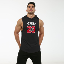 S-XL Summmer Hooded Tank Top Casual O-neck Sleeveless Men Tops Workout Fitness Vest Running Gym Clothing Basketball Tee Shirt men contrast neck tee