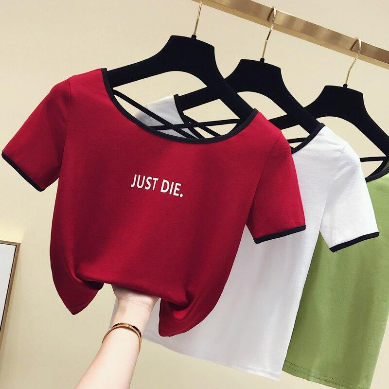 Sexy Women Slim Short T Shirt Crop Top Letter Printed Cotton Tshirt Summer Short Sleeve T-shirt Back Hollow Out Tee Shirt Femme