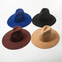 New Fashion High Top Wide Brim Church Wedding Fedora Hat Women Hat Men Crushable Felt Outback Hat 100% Wool Hats Winter Jazz Hat