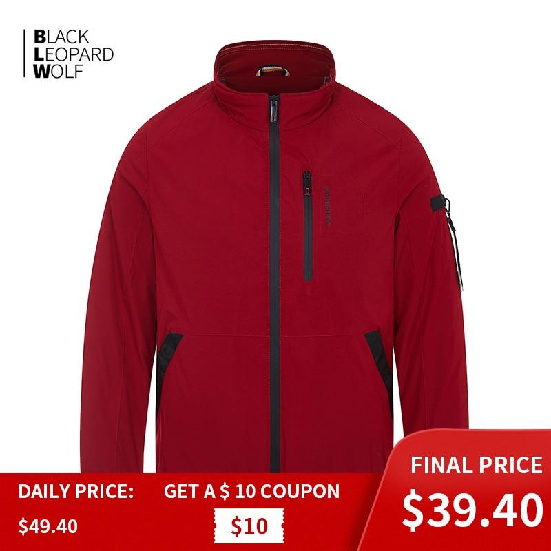 Blackleopardwolf  Waterproof Men's Jacket Male Windbreaker Thin Cotton Business Casual Stand Collar Male Windproof Coat ZC-6212