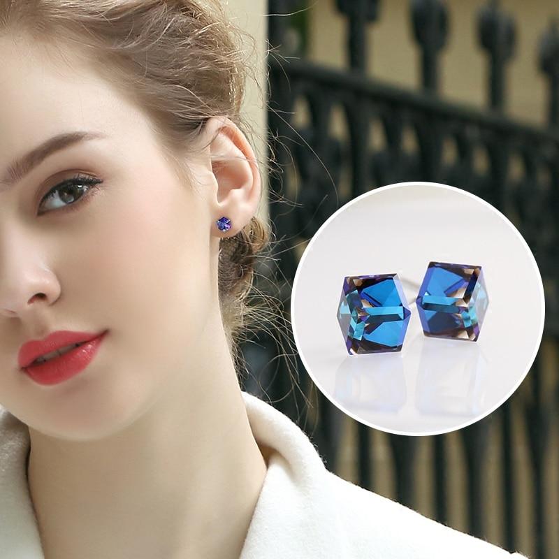 Warme Farben 925 Sterling Sliver Women Earrings Fine Jewelry Simple Small Cube Crystal Stud Earrings Girl Brincos