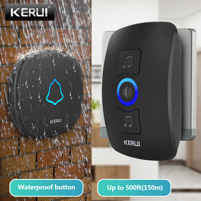 KERUI M525 Home Security Welcome Wireless Doorbell Smart Chimes Doorbell Alarm LED light 32 Songs with Waterproof Touch Button Computer, Office & Security