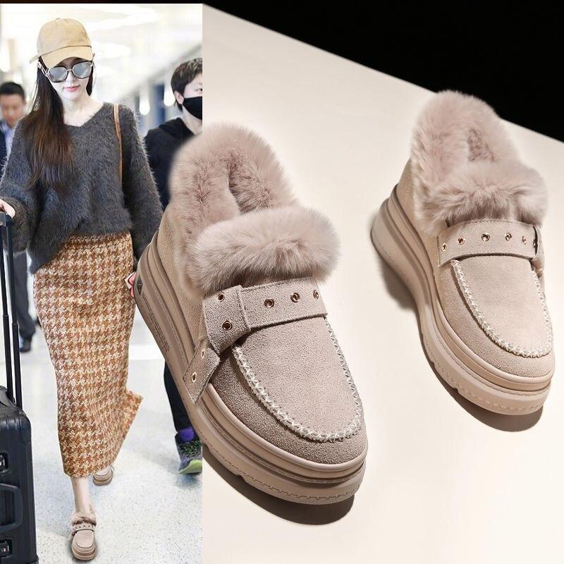 Women's Shoes Plus Velvet Winte thick-sole Wedges Warm Shoe Woman Cotton Boots Increase Heels Female Furry Shoes Black Beige