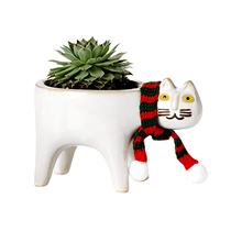 Cute Green Plants Flower Pot With Hole Ceramic Garden White Pots Cute Cat Succulent Ceramic Flower Pot With Cat Scarf Dropship
