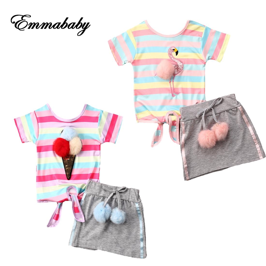 NEW 2020 Toddler Kids Baby Girl Princess Tops T-shirt Skirt Bottom Dress Party Outfits