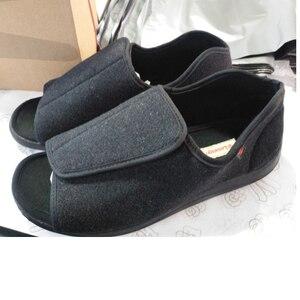 Diabetes sapatos pé largo do velho pé respirável sapatos de meia-idade pé inchado deformação externa enfermagem material de lã